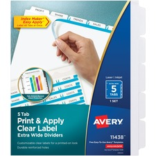 AVE 11438 Avery Index Maker Extra-Wide Tab Dividers AVE11438