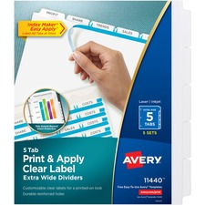 AVE11440 - Avery&reg Index Maker Extra-Wide Print & Apply Clear Label Dividers