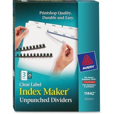 AVE11442 - Avery&reg Index Maker Print & Apply Clear Label Dividers with White Tabs - Unpunched