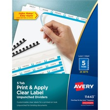 AVE11443 - Avery® Index Maker Print & Apply Clear Label Dividers with White Tabs - Unpunched