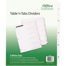 AVE 11666 Avery B/W Print Table of Contents Tab Dividers AVE11666