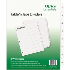 AVE 11668 Avery B/W Print Table of Contents Tab Dividers AVE11668