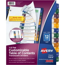 AVE11819 - Avery&reg Ready Index Customizable Table of Contents Translucent Dividers