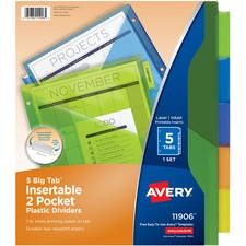 AVE 11906 Avery Plastic 2-Pocket Insertable Tab Dividers AVE11906