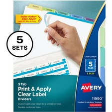 """Avery® Index Maker Index Divider - 25 x Divider(s) - Print-on Tab(s) - 5 - 5 Tab(s)/Set - 8.50"""" Divider Width x 11"""" Divider Length - 3 Hole Punched - White Paper Divider - Multicolor Paper Tab(s) - 5 / Pack"""