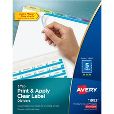 AVE11992 - Avery&reg Index Maker Print & Apply Clear Label Dividers with Contemporary Color Tabs