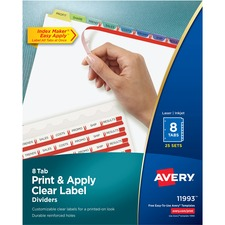 AVE11993 - Avery® Index Maker Print & Apply Clear Label Dividers with Contemporary Color Tabs