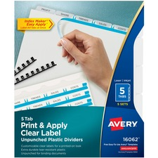 AVE16062 - Avery&reg Index Maker Print & Apply Clear Label Plastic Dividers - Unpunched