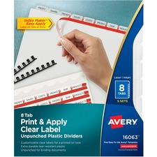 AVE16063 - Avery&reg Index Maker Print & Apply Clear Label Plastic Dividers - Unpunched