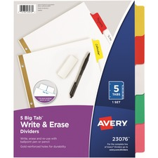 AVE 23076 Avery Big Tab Write-On Dividers w Erasable Tabs AVE23076