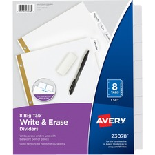 AVE 23078 Avery Big Tab Eraseable Write-On Dividers AVE23078