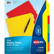 AVE 23080 Avery Plastic Tab Dividers w/ White Labels AVE23080