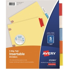 AVE 23280 Avery WorkSaver Big Tab Insertable Dividers AVE23280