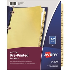 AVE 24280 Avery A-Z Copper Reinforced Laminated Tab Dividers AVE24280