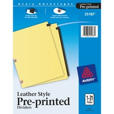 AVE 25187 Avery Leather Style Pre-printed 1-31 Tab Dividers AVE25187