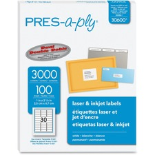 AVE 30600 Avery Pres-a-ply Laser/Inkjet Address Labels AVE30600
