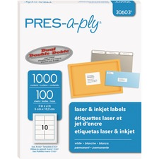 AVE 30603 Avery Pres-a-ply Laser/Inkjet Shipping Labels AVE30603