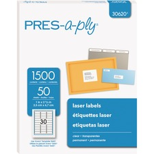 AVE 30620 Avery Pres-a-ply Standard Clear Laser Labels AVE30620