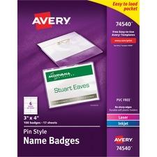 AVE 74540 Avery Laser/Inkjet Pin Style Name Badge Kits AVE74540