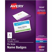 AVE 74549 Avery Laser/Inkjet Pin Style Name Badge Kits AVE74549