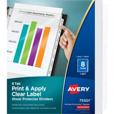 AVE 75501 Avery Index Maker Clear Pocket View Dividers AVE75501