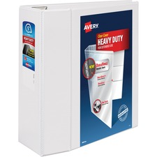"""Avery® Heavy-Duty View Binders with Locking One Touch Slant Rings - 5"""" Binder Capacity - Letter - 8 1/2"""" x 11"""" Sheet Size - 1050 Sheet Capacity - 3 x D-Ring Fastener(s) - 4 Internal Pocket(s) - Chipboard, Poly - White - Recycled - Clear Overlay, Locking Ring, Gap-free Ring, One Touch Ring, Easy Insert Spine, PVC-free, Non-stick, Stacked Pocket, Heavy Duty - 1 Each"""
