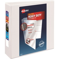 """Avery® Heavy-Duty View 3 Ring Binder, 3"""" One Touch Slant Rings, Holds 8.5"""" x 11"""" Paper, White (79793) - 3"""" Binder Capacity - Letter - 8 1/2"""" x 11"""" Sheet Size - 635 Sheet Capacity - 3 x Slant Ring Fastener(s) - 4 Internal Pocket(s) - Polypropylene - White - Recycled - Pocket, Heavy Duty, One Touch Ring, Tear Resistant, Split Resistant, Non-stick, Archival-safe, Ink-transfer Resistant, Long Lasting - 1 Each"""