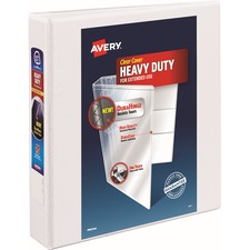 """Avery® Heavy-Duty View 3-Ring Binder - 1-1/2"""" One Touch EZD Rings - 1 1/2"""" Binder Capacity - Letter - 8 1/2"""" x 11"""" Sheet Size - 375 Sheet Capacity - Slant Ring Fastener(s) - 4 Internal Pocket(s) - Polypropylene - White - Recycled - Pocket, Heavy Duty, One Touch Ring, Tear Resistant, Split Resistant, Non-stick, Archival-safe, Ink-transfer Resistant, Long Lasting - 1 Each"""
