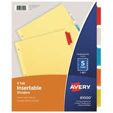 AVE 81000 Avery 3-Hole 5-Tab Dividers AVE81000