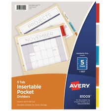 AVE 81009 Avery Insertable 5-Tab Dividers AVE81009