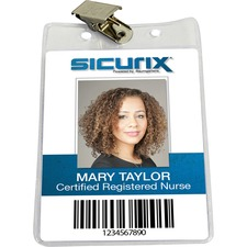 BAU67860 - SICURIX Vertical Badge Holder with Clip