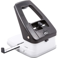 """Baumgartens Three-in-One Slot Hole Punch - 3 Punch Head(s) - 18 Sheet of 20lb Paper - 1/4"""" Punch Size - Black, Ivory"""