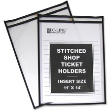 "C-Line Stitched Vinyl Shop Ticket Holders - Support 11"" (279.40 mm) x 14"" (355.60 mm) Media - Vinyl - Black, Clear"
