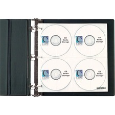 "C-Line CD/DVD Pages Ring Binder Kit - 11.5"" Height x 2"" Width x 12.4"" Depth - 80 x CD/DVD Capacity - Ring Binder - Black - Polypropylene - 1 / Each"