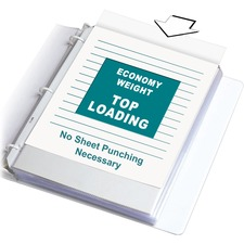 """C-Line Poly Top-loading Sheet Protectors - For Letter 8 1/2"""" x 11"""" Sheet - 3 x Holes - Ring Binder - Clear - Polypropylene - 100 / Box"""