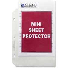 "C-Line Top Load Heavyweight Mini Sheet Protectors - 5 1/2"" x 8 1/2"" Sheet - 3 x Holes - Ring Binder - Clear - Polypropylene"