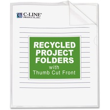 C-Line Recycled Poly Project Folders - Clear, Reduced Glare, 11 x 8-1/2, 25/BX, 62127