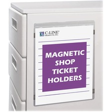 "C-Line Magnetic Shop Ticket Holders - Support 9"" (228.60 mm) x 12"" (304.80 mm) Media - Vinyl - Clear"