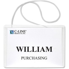 """C-Line Hanging Style Name Badge Holders - 3"""" (76.20 mm) x 4"""" (101.60 mm) x - Vinyl - 50 / Box - Clear"""