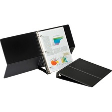 "Cardinal Presentation Easel Round Ring Binders - 1"" Binder Capacity - Letter - 8 1/2"" x 11"" Sheet Size - 225 Sheet Capacity - 3 x Round Ring Fastener(s) - Vinyl - Black - 462.7 g - 1 / Each"