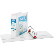 """Cardinal Xtralife ClearVue Locking Slant-D Binders - 4"""" Binder Capacity - Letter - 8 1/2"""" x 11"""" Sheet Size - 890 Sheet Capacity - 3 3/5"""" Spine Width - 3 x D-Ring Fastener(s) - 2 Inside Front & Back Pocket(s) - Polyolefin - White - 816.5 g - Non-stick, Locking Ring, PVC-free, Clear Overlay, Cold Resistant, Crack Resistant - 1 Each"""
