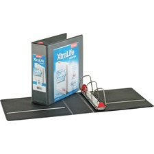 """Cardinal Xtralife ClearVue Locking Slant-D Binders - 4"""" Binder Capacity - Letter - 8 1/2"""" x 11"""" Sheet Size - 890 Sheet Capacity - 3 3/5"""" Spine Width - 3 x D-Ring Fastener(s) - 2 Inside Front & Back Pocket(s) - Polyolefin - Black - 816.5 g - Non-stick, Locking Ring, PVC-free, Clear Overlay, Cold Resistant, Crack Resistant - 1 Each"""
