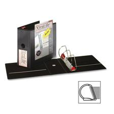 """Cardinal XtraLife ClearVue Non-Stick Locking Slant-D Ring Binder - 5"""" Binder Capacity - Letter - 8 1/2"""" x 11"""" Sheet Size - 1100 Sheet Capacity - 4 3/8"""" Spine Width - 3 x D-Ring Fastener(s) - 2 Inside Front & Back Pocket(s) - Polyolefin - Black - 1.02 kg - Recycled - Non-stick, Cold Resistant, Crack Resistant, Locking Ring, Clear Overlay - 1 Each"""