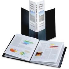 "Cardinal SpineVue Letter Presentation Folder - 8 1/2"" x 11"" - 24 Sheet Capacity - 12 Internal Pocket(s) - Polypropylene - Black - 1 Each"