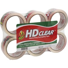 "Duck Brand HD Clear Packing Tape - 55 yd Length x 1.88"" Width - 3"" Core - Acrylic - 2.60 mil - Acrylic Backing - 6 / Pack - Clear"