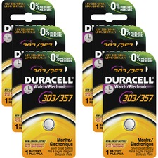 Duracell Button Cell Silver Oxide 1.5V Battery - D303/357 - For Multipurpose - 1.5 V DC - 165 mAh - Silver Oxide - 6 / Box