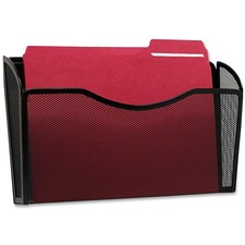 "Rolodex Mesh Letter Wall File - 1 Pocket(s) - 8.5"" Height x 14"" Width x 3.4"" Depth - Black - Steel"