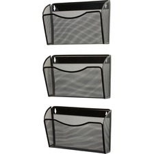 "Rolodex Expressions Mesh 3-Pack Hanging Wall Files - 3 Pocket(s) - 33.5"" Height x 14"" Width x 6.6"" Depth - Wall Mountable - Black - Steel - 1Each"