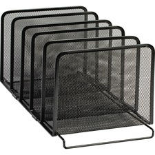 """Rolodex Expressions 22141 Mesh Stacking Sorter - 5 Compartment(s) - 7.5"""" Height x 8.5"""" Width x 14.3"""" Depth - Desktop - Stackable - Black - Steel - 1 Each"""