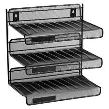 "Rolodex Expressions Mesh 3 Tier Desk Shelf - 3 Tier(s) - 12.5"" Height x 12.5"" Width x 9.3"" Depth - Desktop - Black - Steel - 1Each"